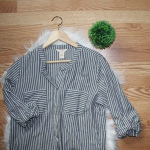 Sundance Blue Stripe Button Up Blouse M